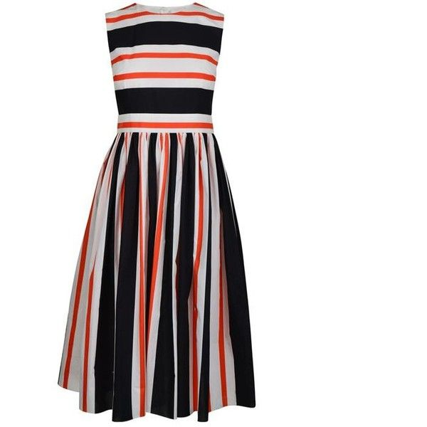 Dolce And Gabbana Striped A Line Dress ($545) ❤ liked on Polyvore featuring dresses, vestido, white day dress, stripe dress, open back midi dress, a line midi dress and striped cotton dress