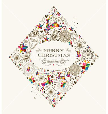 Vintage christmas diamond greeting card vector by cienpies on VectorStock®