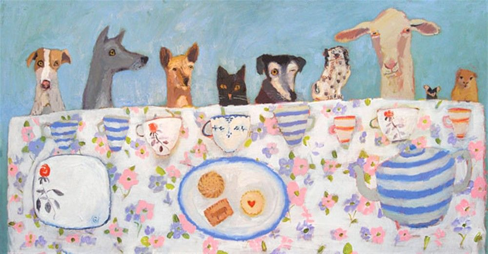 Tea Party Love This Painting By Vanessa Cooper Art Dog Paintings