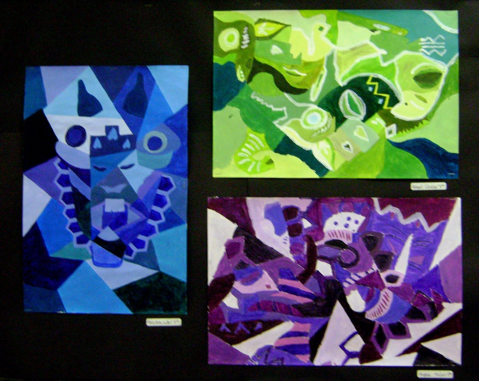 Line Art Projects Middle School : Th picasso inspired mask paintings shapes lines