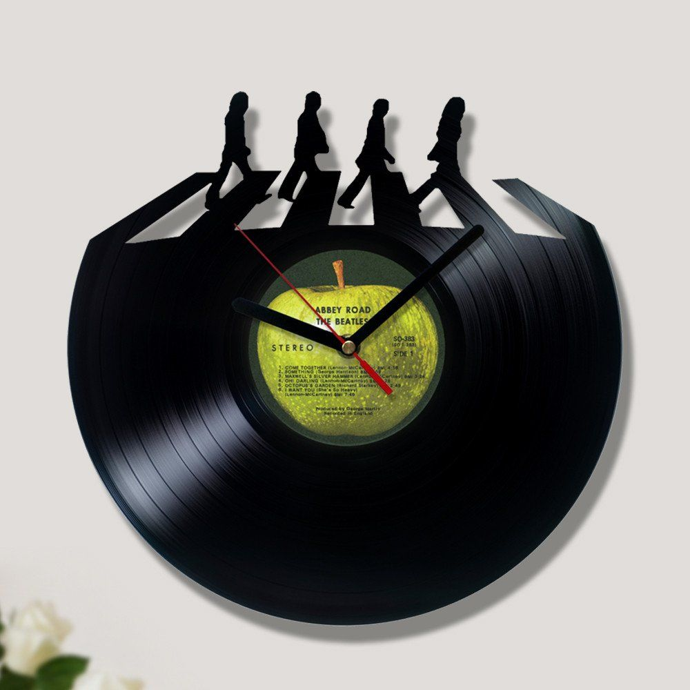 Vinyl Record Clock Inside Abbey Road Vinyl Record