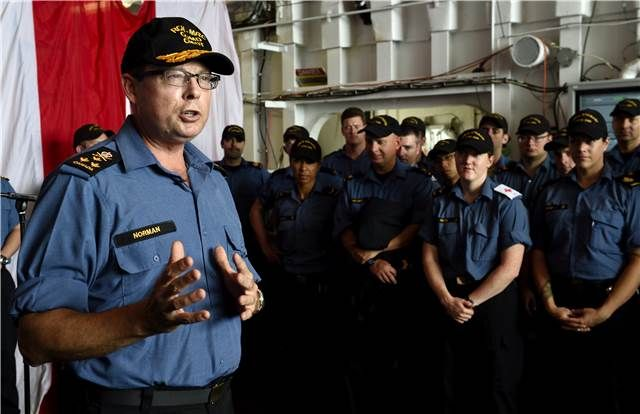 Commander Of The Royal Canadian Navy Vice Admiral Mark Norman Speaks With The Sailors Aboard Her Majesty S Canadi Royal Canadian Navy Canadian Forces Exercise