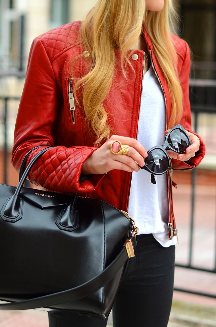 Red leather jacket black givenchy bag my kind of style