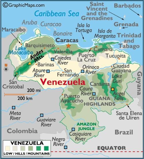 Printable Map--Venezuela | Map, Venezuela, South america map