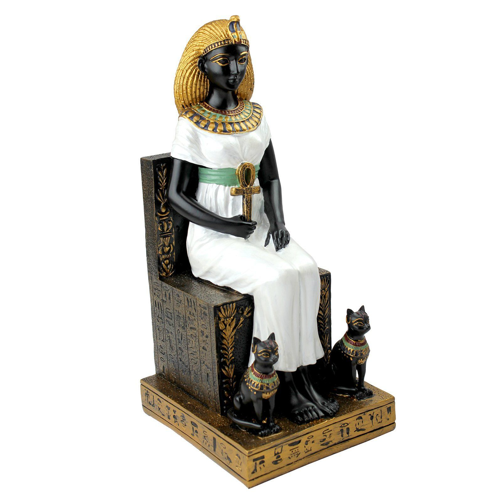 Design toscano in queen cleopatra on the throne of egypt statue