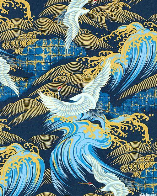 Tidal Cranes - Indigo Blue/Gold