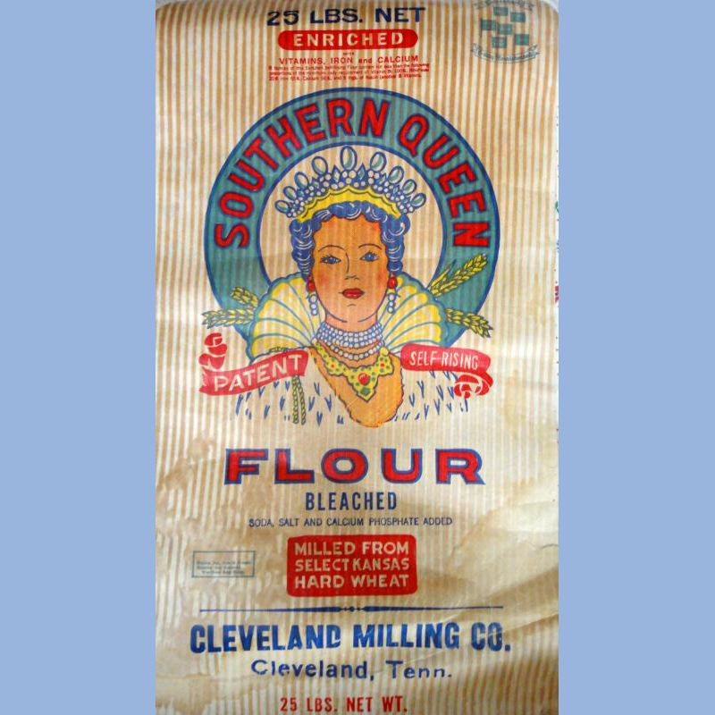 cloth feed bags | Vintage Antique Flour Feed Sack Fabric Bag w Label 25lb Southern Queen ...
