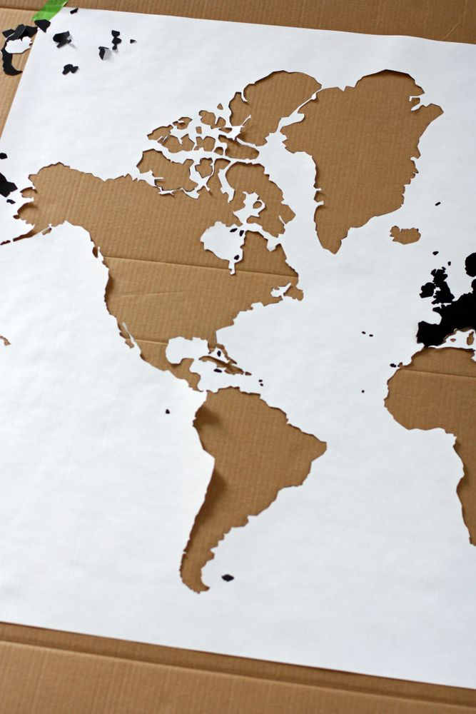 A Watercolor World Map   Pinterest   Outlines  Engineering prints     World Map Outline