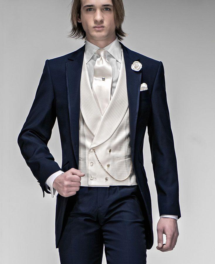 Slim Fit Mens Suits Groomsmen Notch Lapel Groom Tuxedos Navy Blue ...