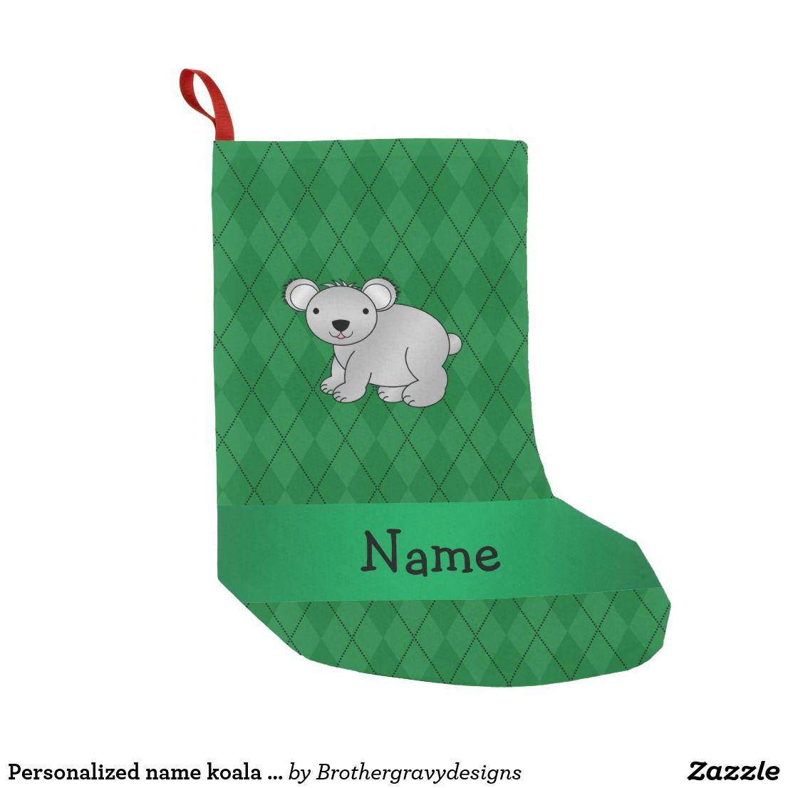 Personalized name koala bear green argyle small christmas stocking ...