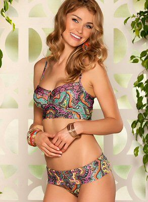 Bustier-inspired bralette top + foldover bottom in an allover paisley print - Becca Swimwear by Rebecca Virtue