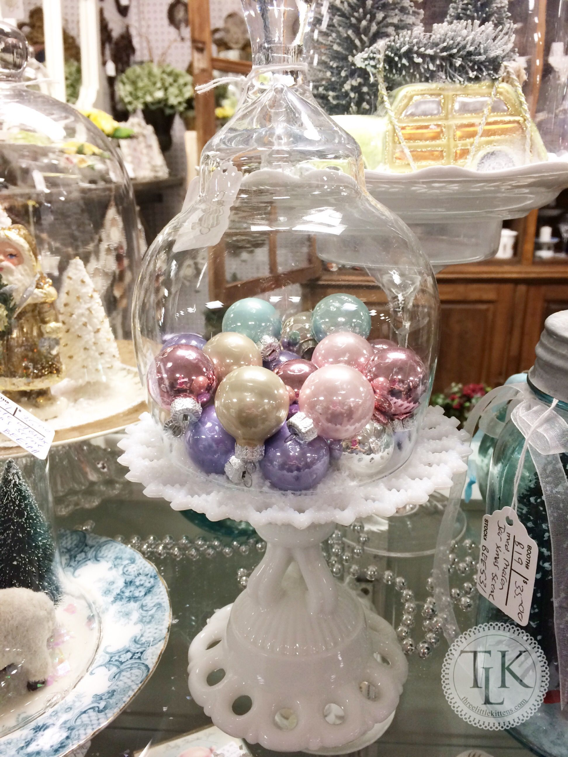 cake plate of pastel ornaments under a cloche - Pastel Christmas Decorations