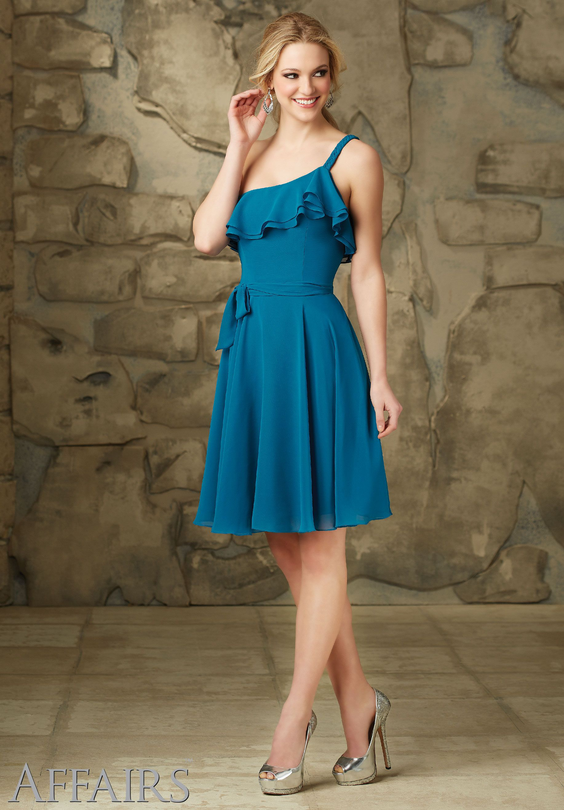 Chiffon Tie Sash. Zipper Back. Shown in Marine. Available in all ...