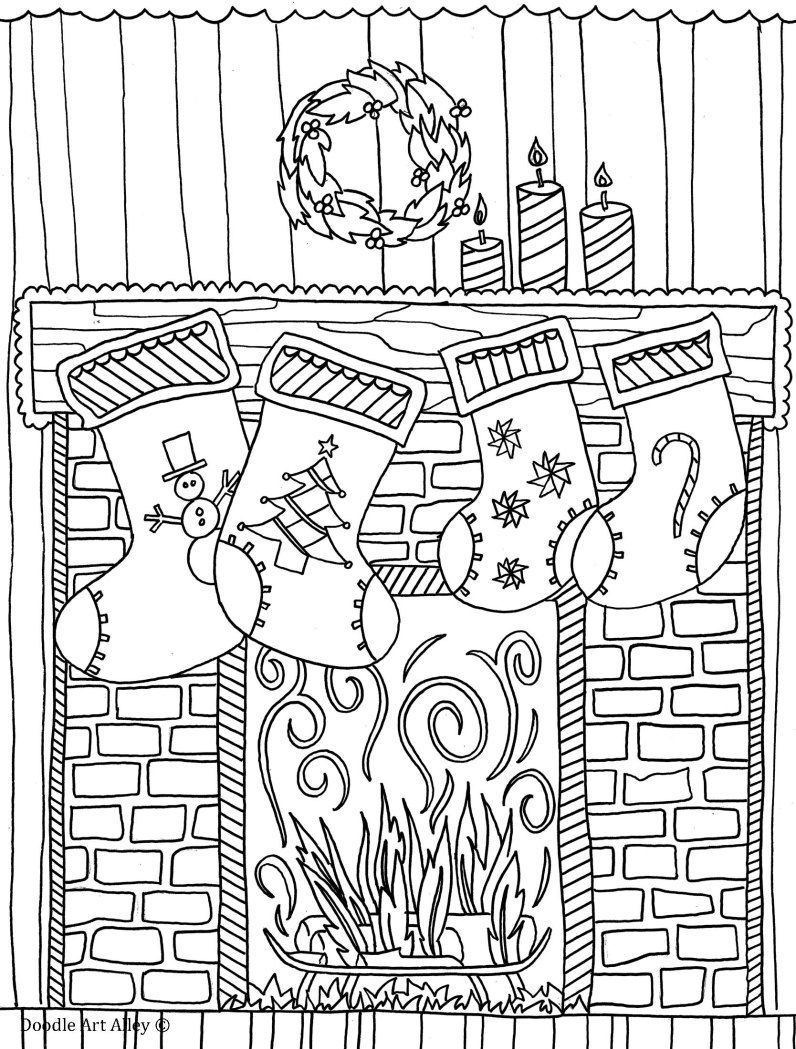 Fireplace Free christmas coloring pages, Christmas