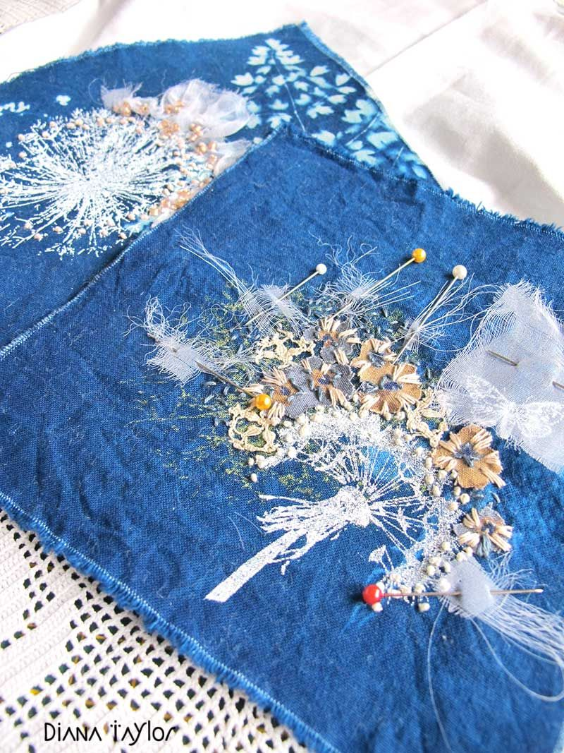 Night garden work in progress - thermofax printing, cyanotype and embroidery by Velvet Moth Studio