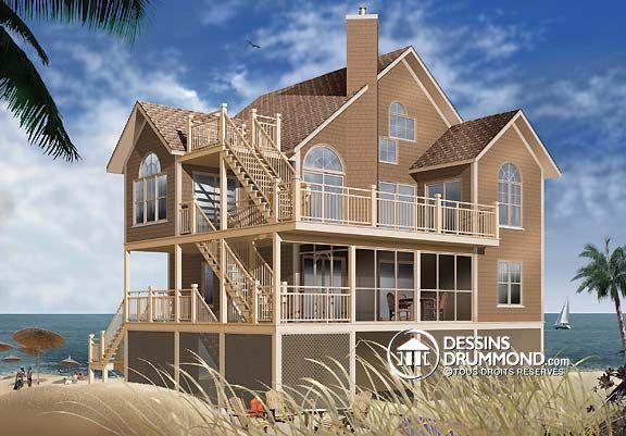 Plan de Maison unifamiliale W4943A, chalet typique bord de mer 4