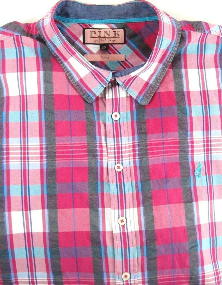 Details about Thomas Pink Men Button Up Shirt Size 2XL Pink Gray ...