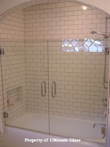 Subway Tiles And Frameless Glass Enclosed Tub Gorgeous Tub