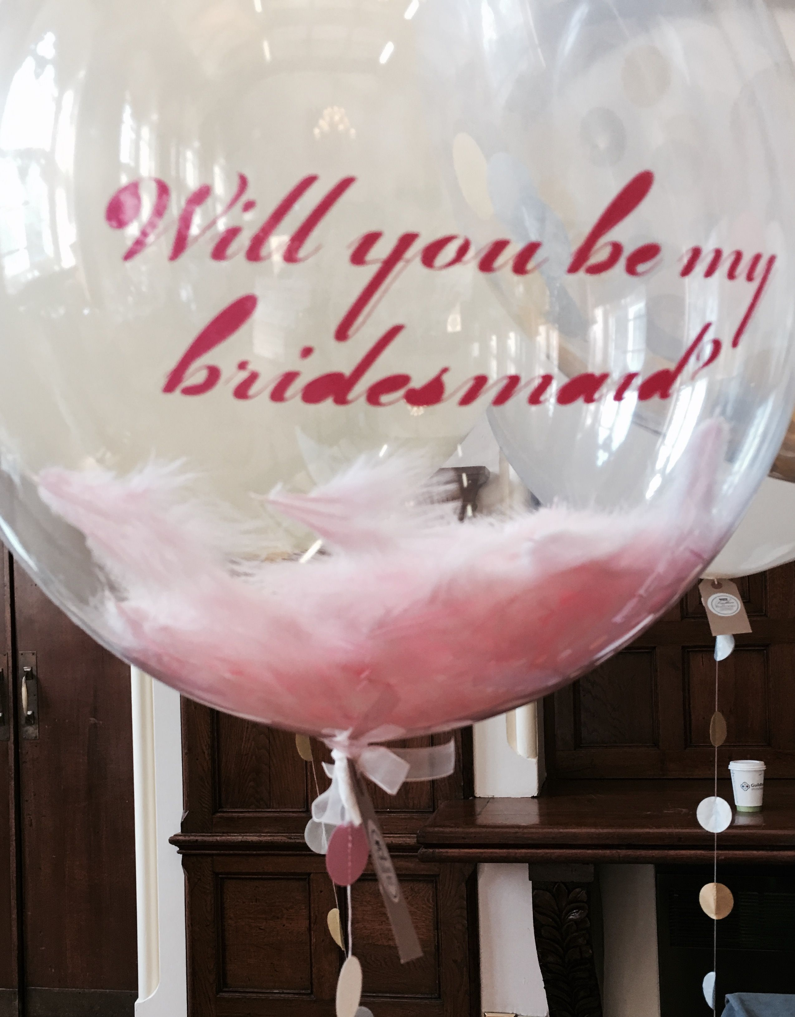 A Pretty Pink Feathery Way To Ask Your Bff Be Bridesmaid Confetti Balloons