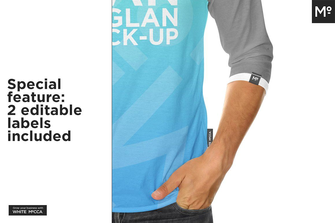 Download Raglan 3 4 Shirt Mock Up Mocking 4th Shirts Editable Labels