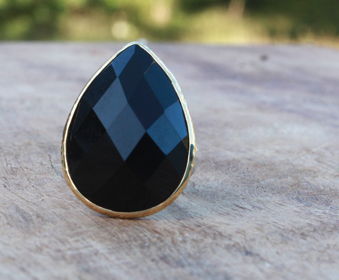 Hammered Silver & Gold Obsidian Ring