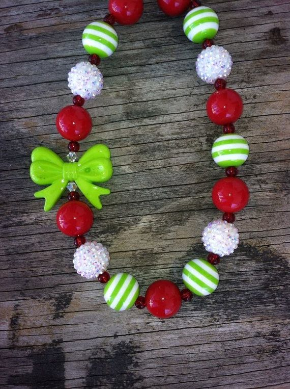 Christmas Red and Green Chunky Bubble Gum Necklace by LilyandRylee, $18.00