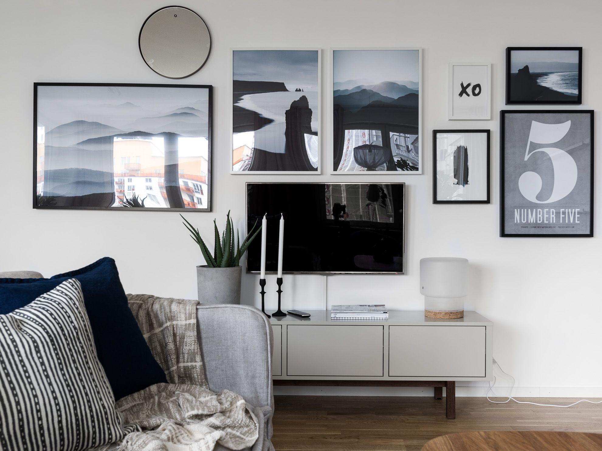 ikea 'stockholm' fernsehstand mit bildern  wohnzimmer