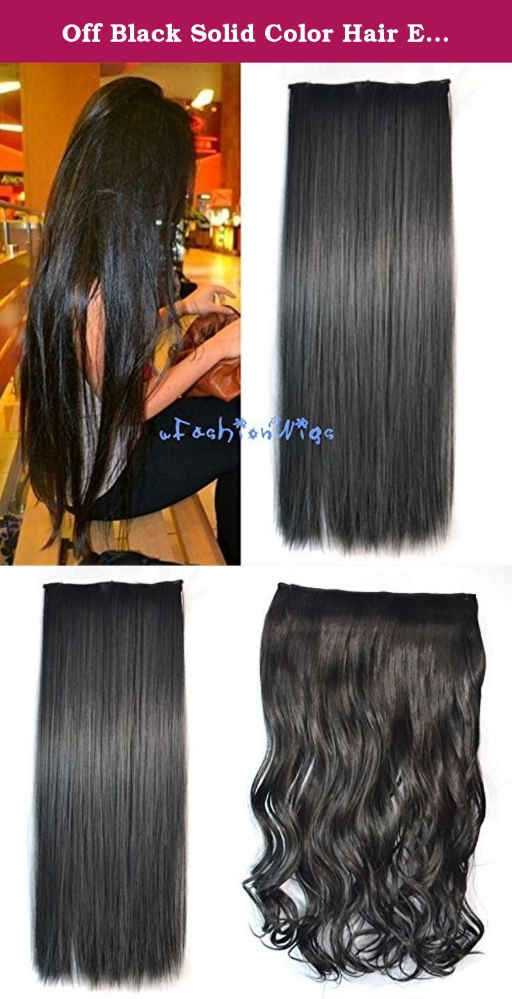 Off Black Solid Color Hair Extensions Synthetic Hair Clips In Extensions Uf217 Off Black Color Hair Extens Hair Color For Black Hair Hair Quality Hair Pieces