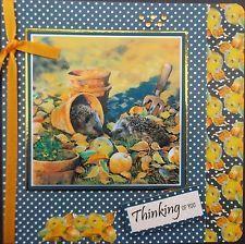 HANDMADE DECOUPAGE CARD-  HEDGEHOGS- (THINKING OF YOU)