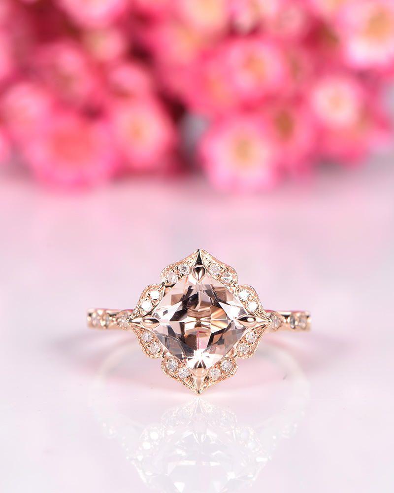 Natural morganite engagement ring 7mm cushion cut morganite ring ...