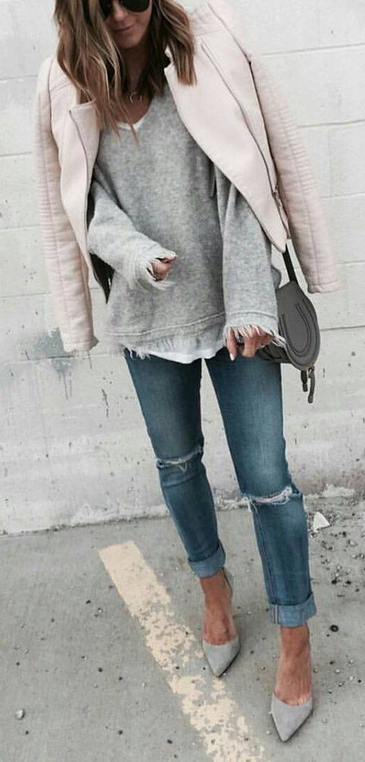 e487cf7f0b35  winter  fashion   Grey Knit + Light Bomber Jacket