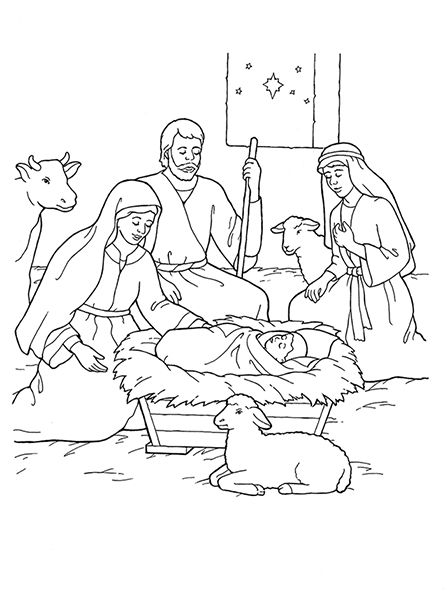Nativity Mary Joseph Jesus And The Shepherds Jesus Coloring Pages Sunday School Coloring Pages Nativity Coloring Pages