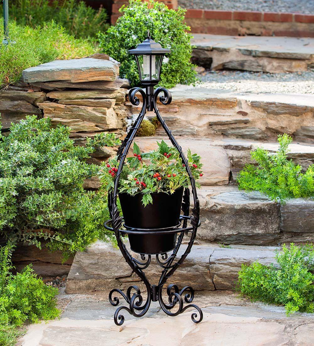 Solar Metal Plant Stand in Solar Garden Decorations   Pots ...