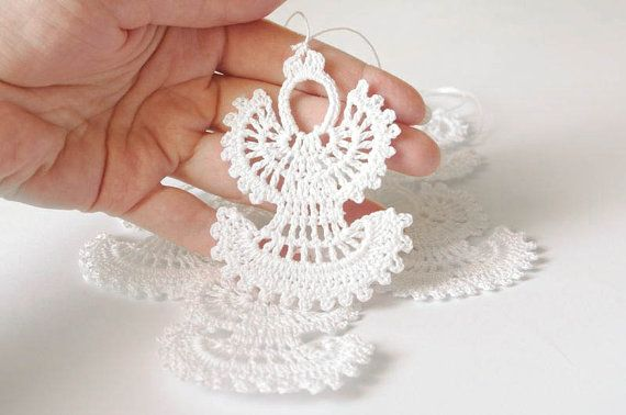 Crochet Christmas Angels Hanging Christmas Ornaments White Crochet