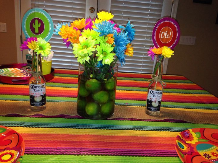 Mexican fiesta party centerpieces | Lime centerpiece for a Mexican fiesta birthday party & Mexican fiesta party centerpieces | Lime centerpiece for a Mexican ...