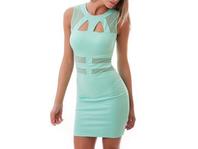 Mentolové krátke šaty s výrezmi