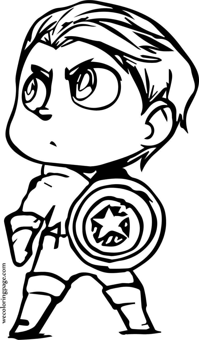Chibi Small Captain America Coloring Page in 2020 ...