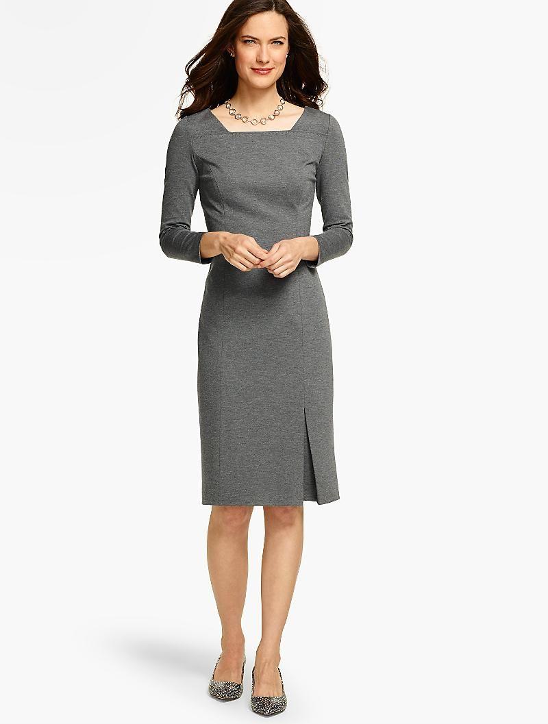 Ponte Square Neck Sheath Dress Talbots Dresses Grey Sheath Dress Business Women Fashion [ 1057 x 800 Pixel ]
