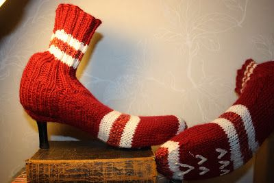 Woollen socks that can be worn with high heels. (My own pattern, instructions in Finnish I'm afraid)
