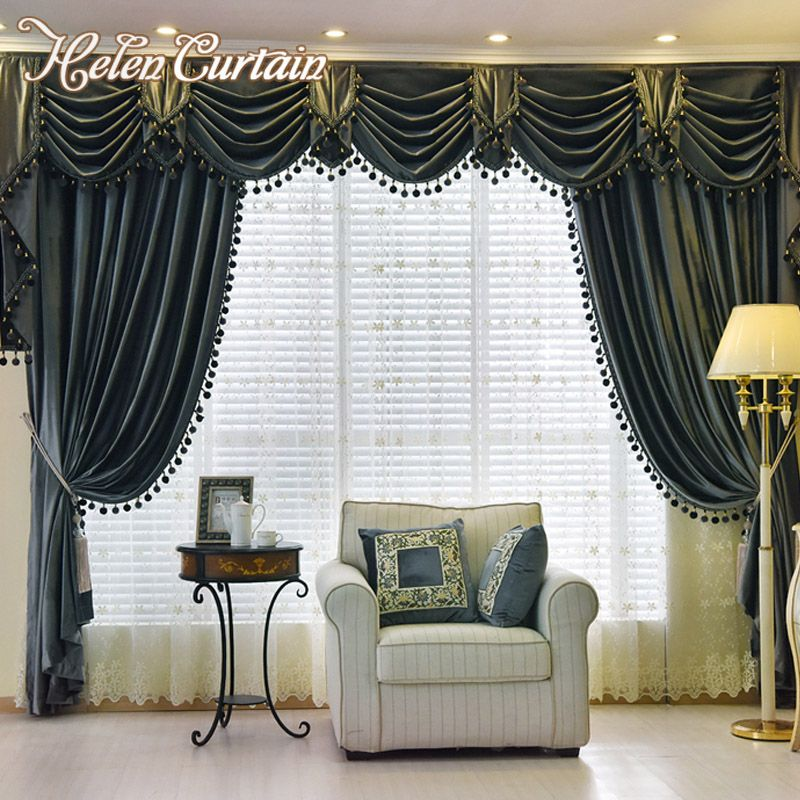 living room window valance ideas%0A Helen Curtain Set Thick Velvet Blackout European Style Living Room Curtain  Luxury Valance Curtains With Bead