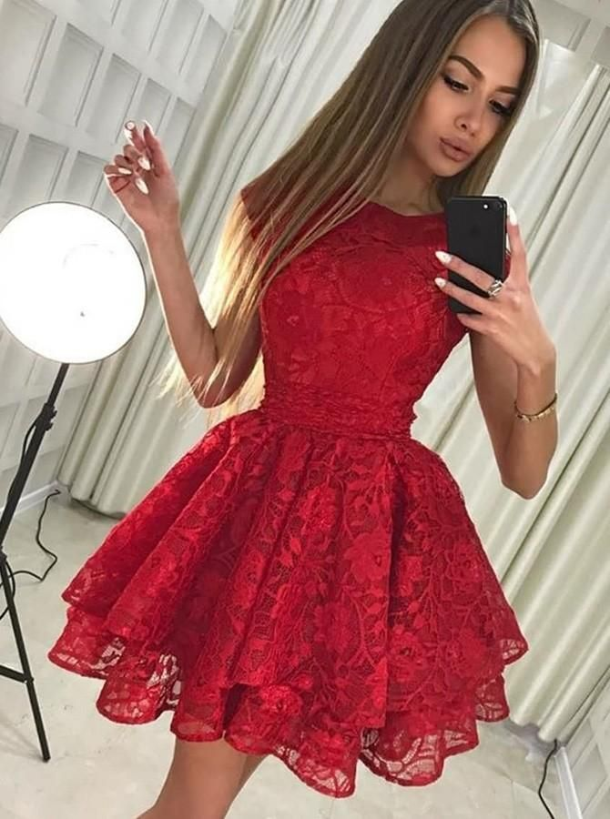 Elegant Prom Dress, A-Line Round Neck Short Red Lace Homecoming Party Dress #spitzeapplique