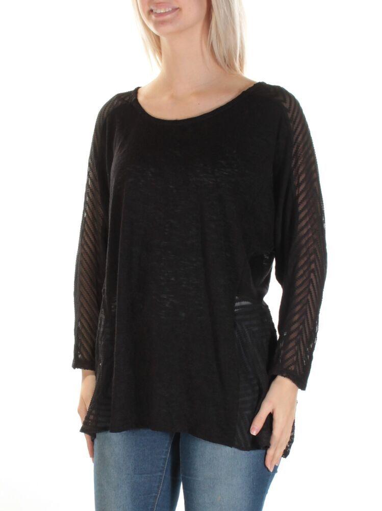 bd2e5137ccd48 ALFANI  60 Womens New 1209 Black Sheer 3 4 Sleeve Jewel Neck Tunic Top L