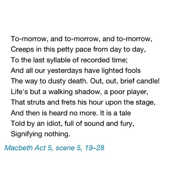 Probably my favorite soliloquy in all Shakespeare's genius work.