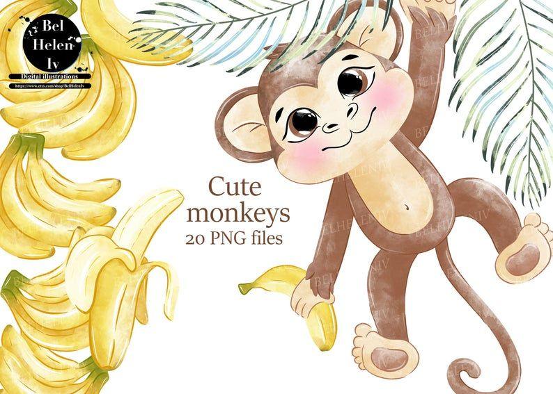 Watercolor Monkeys Clip Art Cute Animal Clipart Etsy In 2021 Cute Animal Clipart Monkey And Banana Holiday Artwork