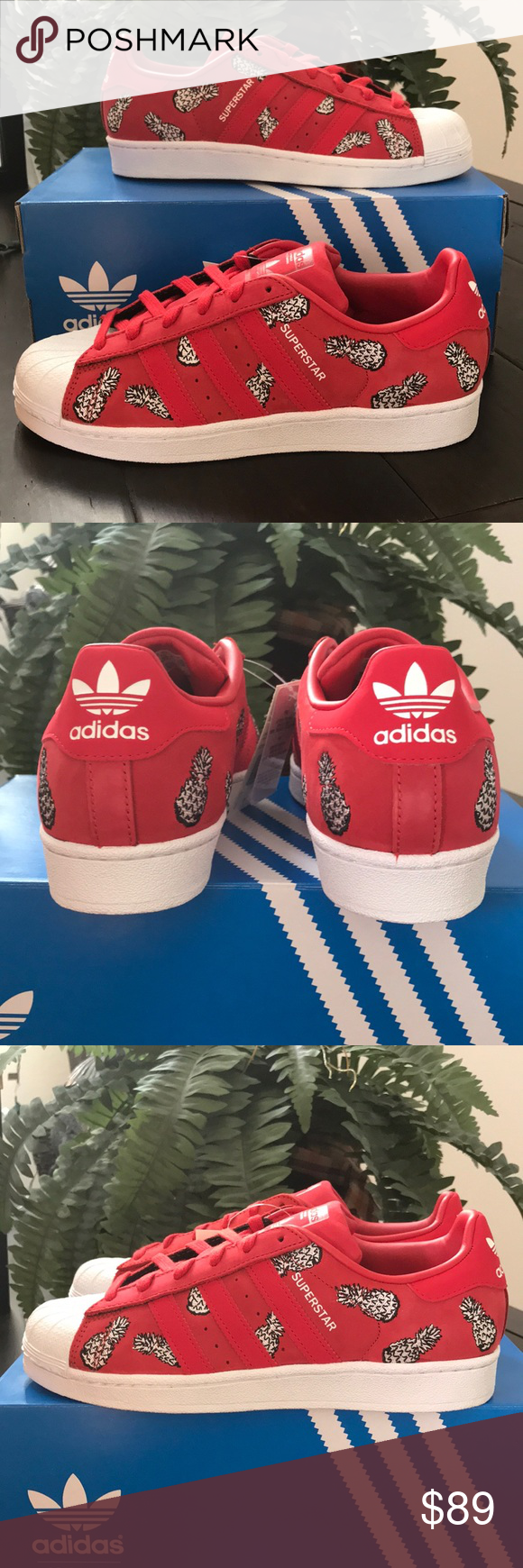 5ffa585c511c New Adidas Superstar Scarlet White Pineapple SZ 8 This is a new in the box  pair of Adidas superstar women s sneakers. They are a size 8.