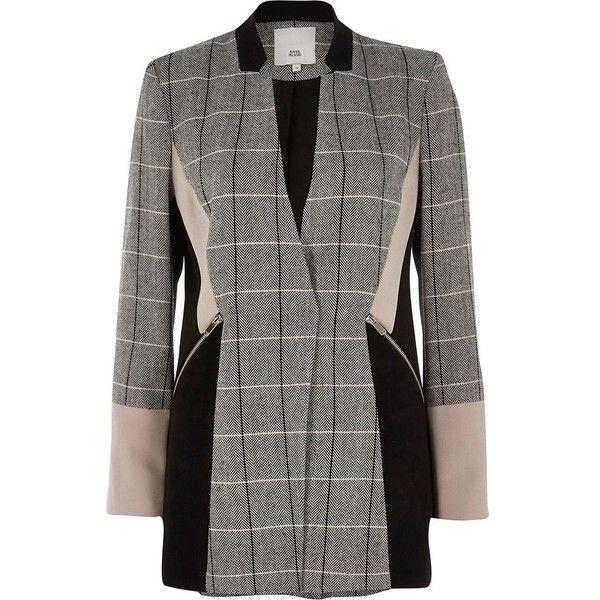 189234fa7f River Island Black check color block blazer ($140) ❤ liked on Polyvore  featuring outerwear, jackets, blazers, black, blazer, coats / jackets,  women, ...