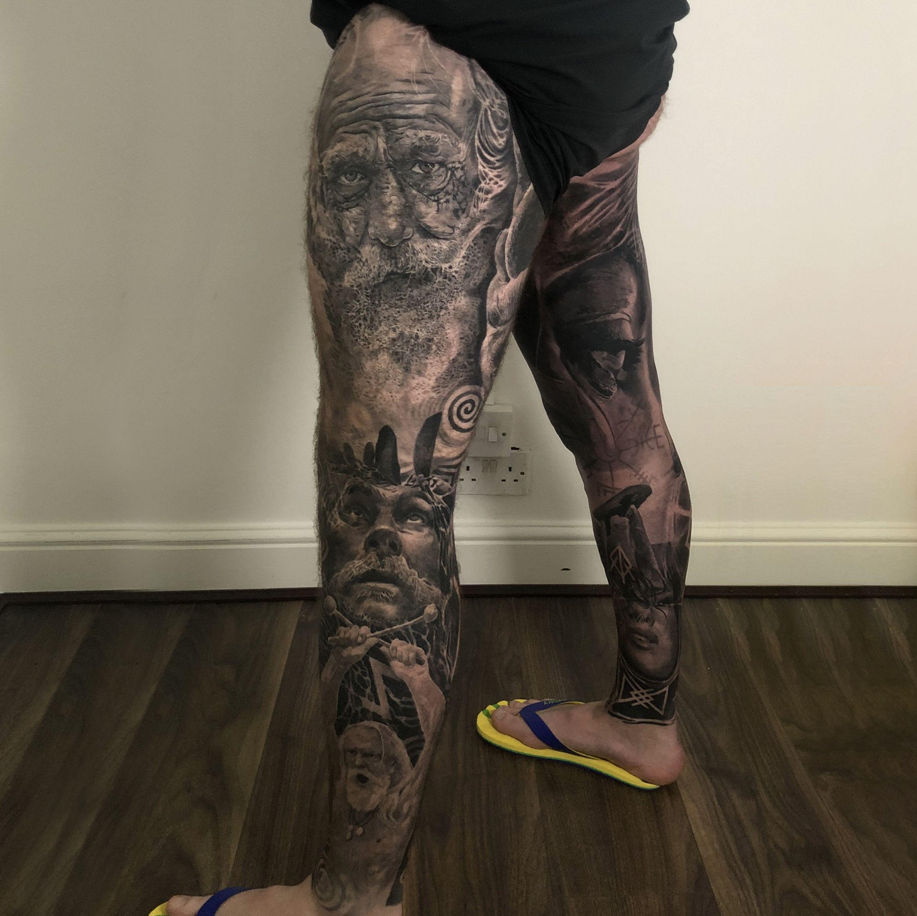 Celtic norse full legs in 2020 full leg tattoos grey
