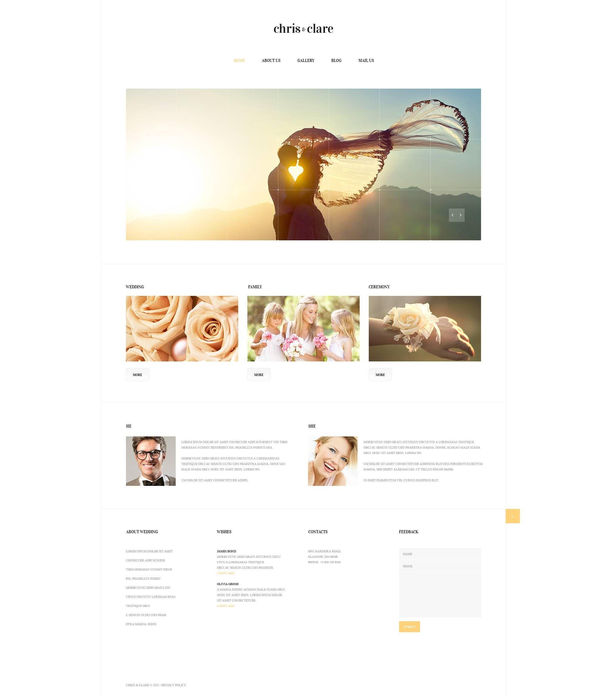Wedding Album Responsive Website Template Template And Website