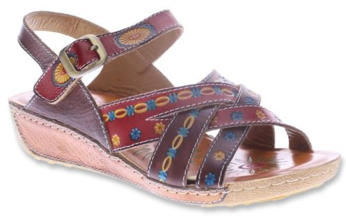 Details about L`Artiste by Spring Step Women's Livingstone Leather  Slingback Sandals Red Multi