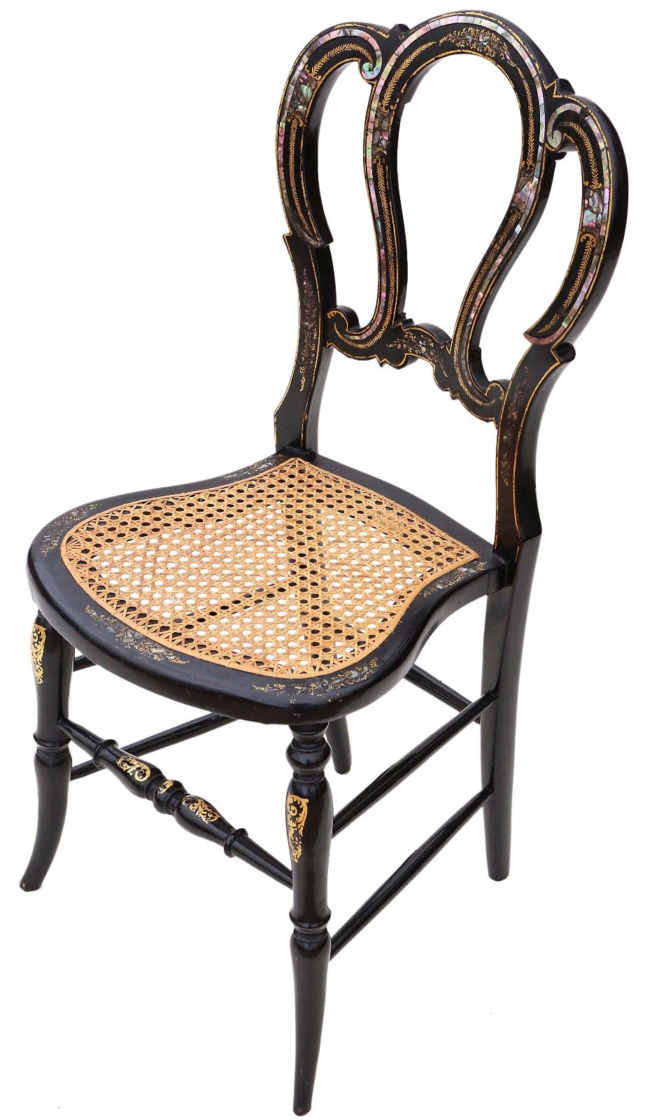 Antique Rare 19th Century Victorian Antique Ebonised Mother Of Pearl Cane Inlaid Bedroom Chair Came From The Master S Lo Chair Bedroom Chair Decorative Pieces